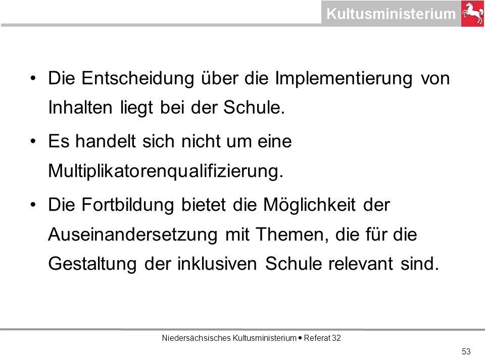 Niedersächsisches Kultusministerium Referat 32 Die Entscheidung über die Implementierung von Inhalten liegt bei der Schule.