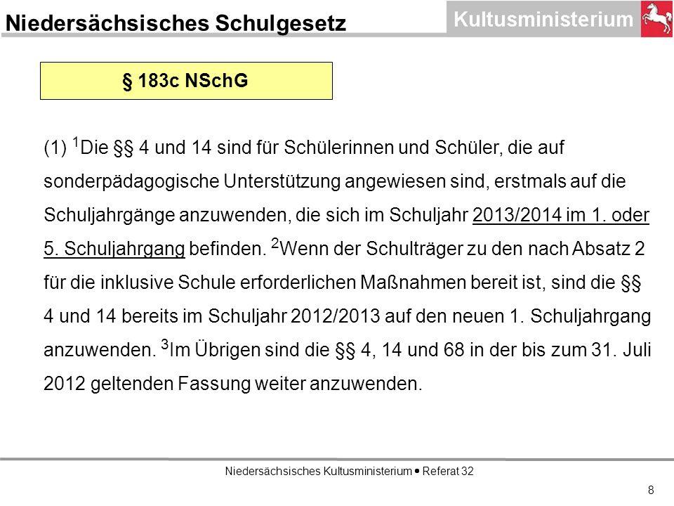 Niedersächsisches Kultusministerium Referat 32 8 § 183c NSchG (1) 1 Die §§ 4 und 14 sind für Schülerinnen und Schüler, die auf sonderpädagogische Unterstützung angewiesen sind, erstmals auf die Schuljahrgänge anzuwenden, die sich im Schuljahr 2013/2014 im 1.