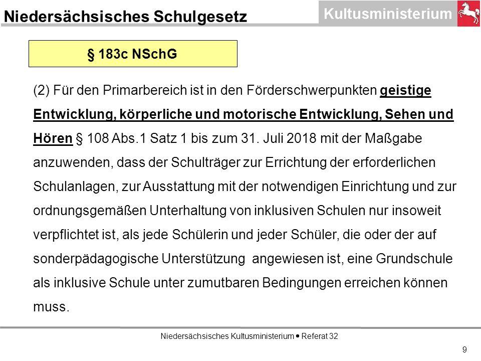 Niedersächsisches Kultusministerium Referat 32 9 § 183c NSchG (2) Für den Primarbereich ist in den Förderschwerpunkten geistige Entwicklung, körperliche und motorische Entwicklung, Sehen und Hören § 108 Abs.1 Satz 1 bis zum 31.