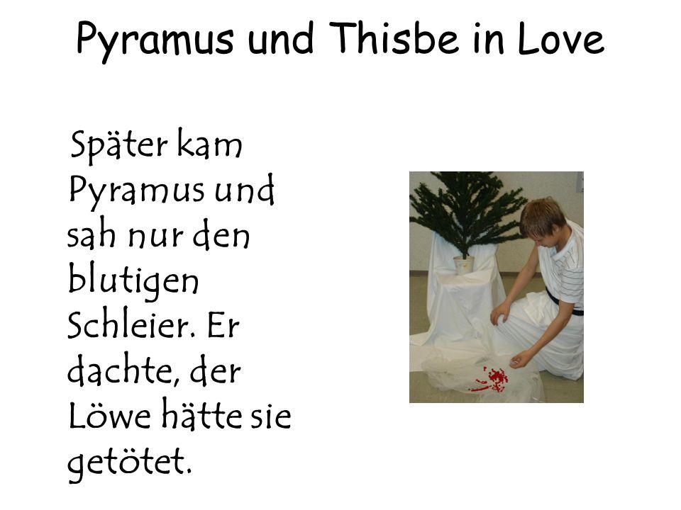 Pyramus und Thisbe in Love Später kam Pyramus und sah nur den blutigen Schleier. Er dachte, der Löwe hätte sie getötet.