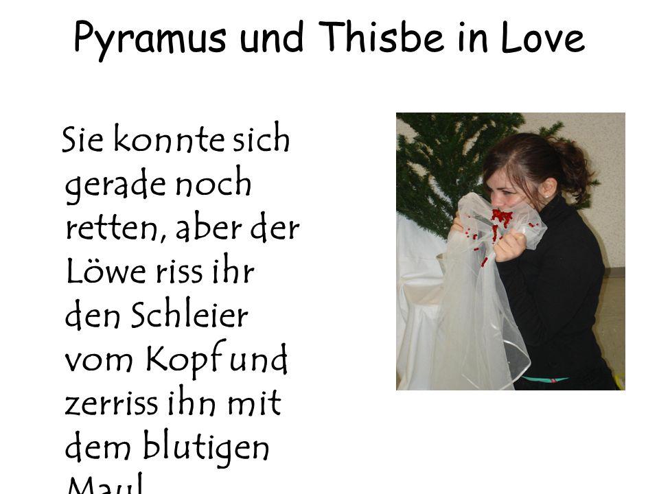 Pyramus und Thisbe in Love Sie konnte sich gerade noch retten, aber der Löwe riss ihr den Schleier vom Kopf und zerriss ihn mit dem blutigen Maul.