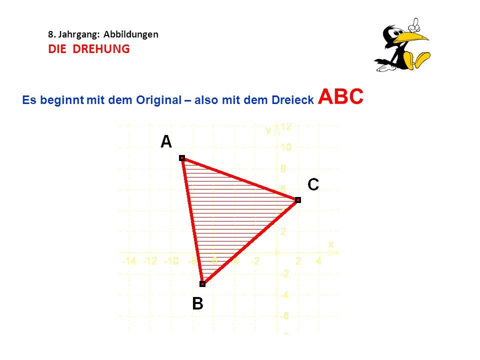 8. Jahrgang: Abbildungen DIE DREHUNG Es beginnt mit dem Original – also mit dem Dreieck ABC