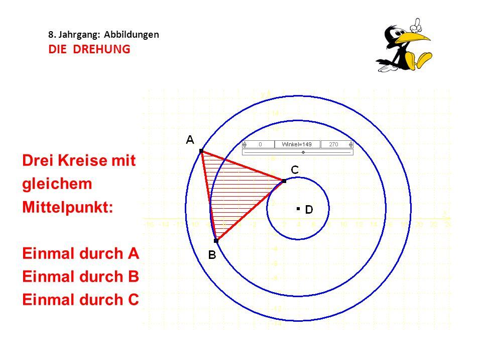 8. Jahrgang: Abbildungen DIE DREHUNG Drei Kreise mit gleichem Mittelpunkt: Einmal durch A Einmal durch B Einmal durch C