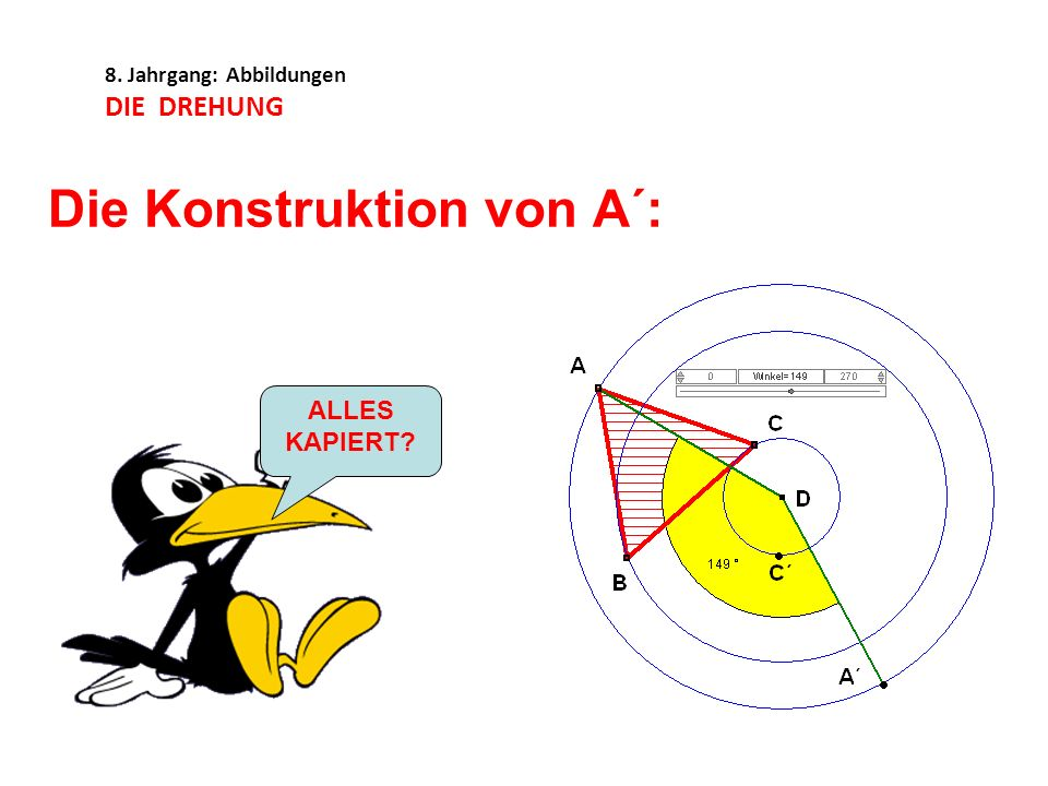 8. Jahrgang: Abbildungen DIE DREHUNG Die Konstruktion von A´: ALLES KAPIERT?