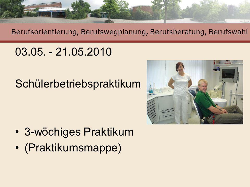 Berufsorientierung, Berufswegplanung, Berufsberatung, Berufswahl 03.05. - 21.05.2010 Schülerbetriebspraktikum 3-wöchiges Praktikum (Praktikumsmappe)