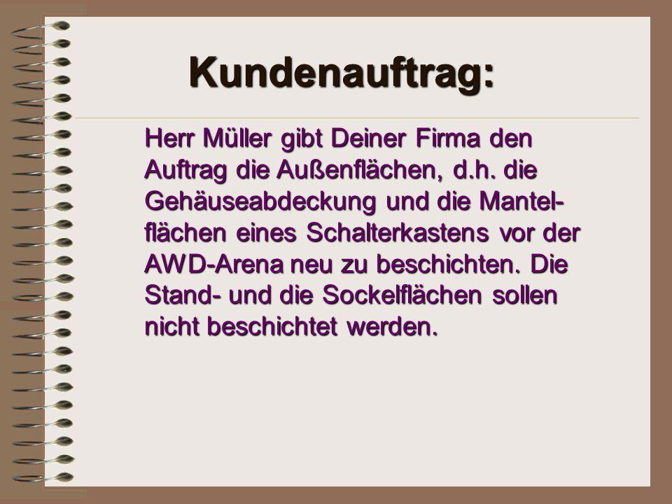 Kundenauftrag: Herr Müller gibt Deiner Firma den Auftrag die Außenflächen, d.h. die Gehäuseabdeckung und die Mantel- flächen eines Schalterkastens vor