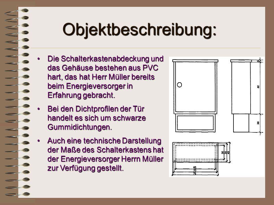 Objektbeschreibung: Die Schalterkastenabdeckung und das Gehäuse bestehen aus PVC hart, das hat Herr Müller bereits beim Energieversorger in Erfahrung
