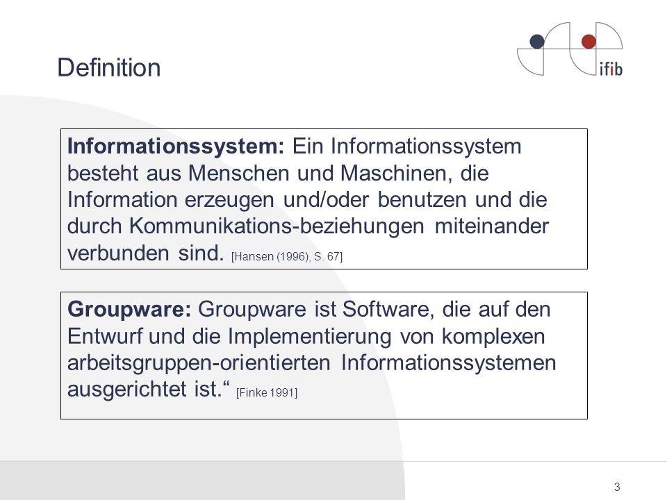 3 Definition Informationssystem: Ein Informationssystem besteht aus Menschen und Maschinen, die Information erzeugen und/oder benutzen und die durch K