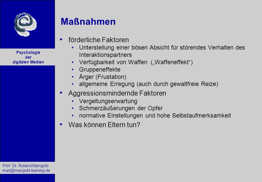 Prof. Dr. Roland Mangold mail@mangold-training.de Psychologie der digitalen Medien Maßnahmen förderliche Faktoren Unterstellung einer bösen Absicht fü