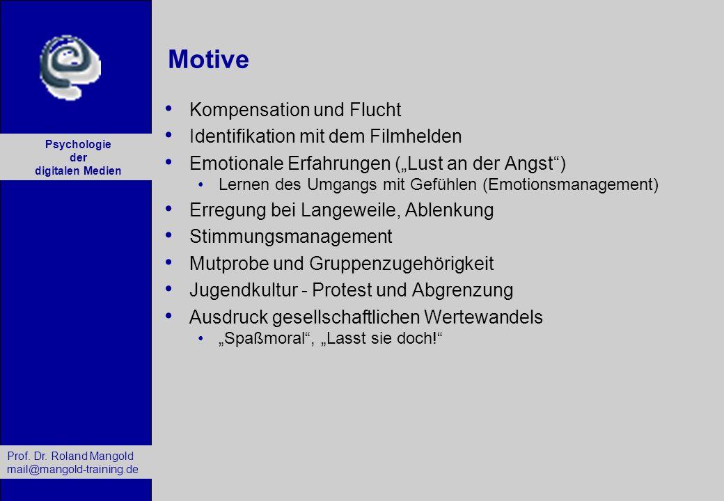 Prof. Dr. Roland Mangold mail@mangold-training.de Psychologie der digitalen Medien Motive Kompensation und Flucht Identifikation mit dem Filmhelden Em