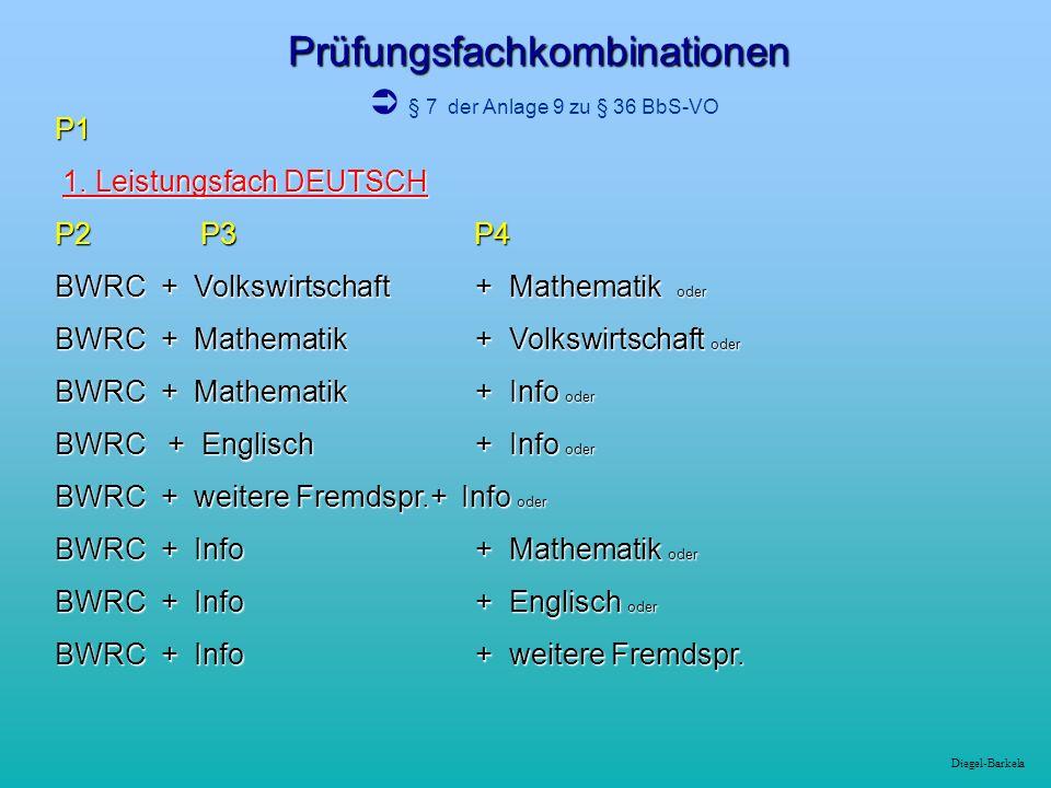 Diegel-Barkela Prüfungsfachkombinationen Prüfungsfachkombinationen § 7 der Anlage 9 zu § 36 BbS-VO P1 1. Leistungsfach DEUTSCH 1. Leistungsfach DEUTSC