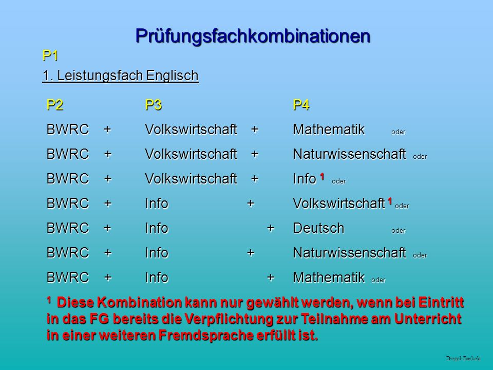 Diegel-Barkela Prüfungsfachkombinationen P1 1. Leistungsfach Englisch P2 P3 P4 BWRC +Volkswirtschaft +Mathematik oder BWRC +Volkswirtschaft +Naturwiss