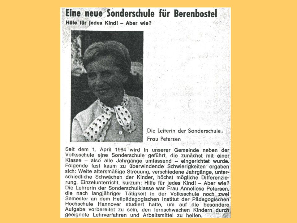 Eine Sonderschule für Berenbostel Weil die Zahl der Sonderschüler ständig zunahm, reichten die zwei Klassenräume in der Volksschule nicht mehr aus.