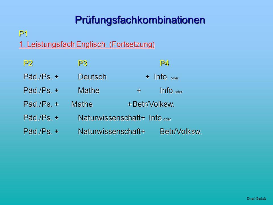 Diegel-Barkela Prüfungsfachkombinationen P1 1. Leistungsfach Englisch (Fortsetzung) 1.