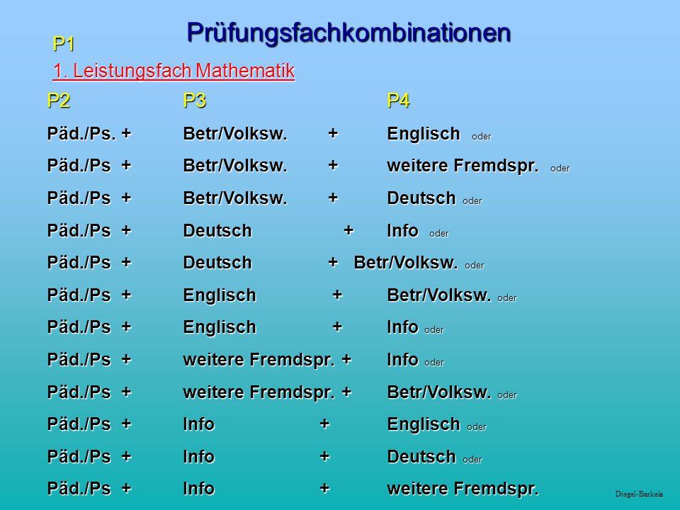 Diegel-BarkelaPrüfungsfachkombinationenP1 1. Leistungsfach Mathematik 1.