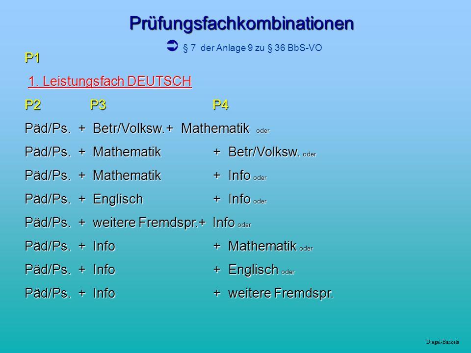 Diegel-Barkela Prüfungsfachkombinationen P1 1.Leistungsfach Englisch P2 P3 P4 Päd./Ps.