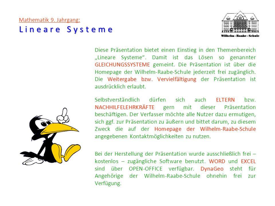 Lineare Systeme Mathematik 9. Jahrgang: Lineare Systeme GLEICHUNGSSYSTEME Weitergabe bzw. Vervielfältigung Diese Präsentation bietet einen Einstieg in