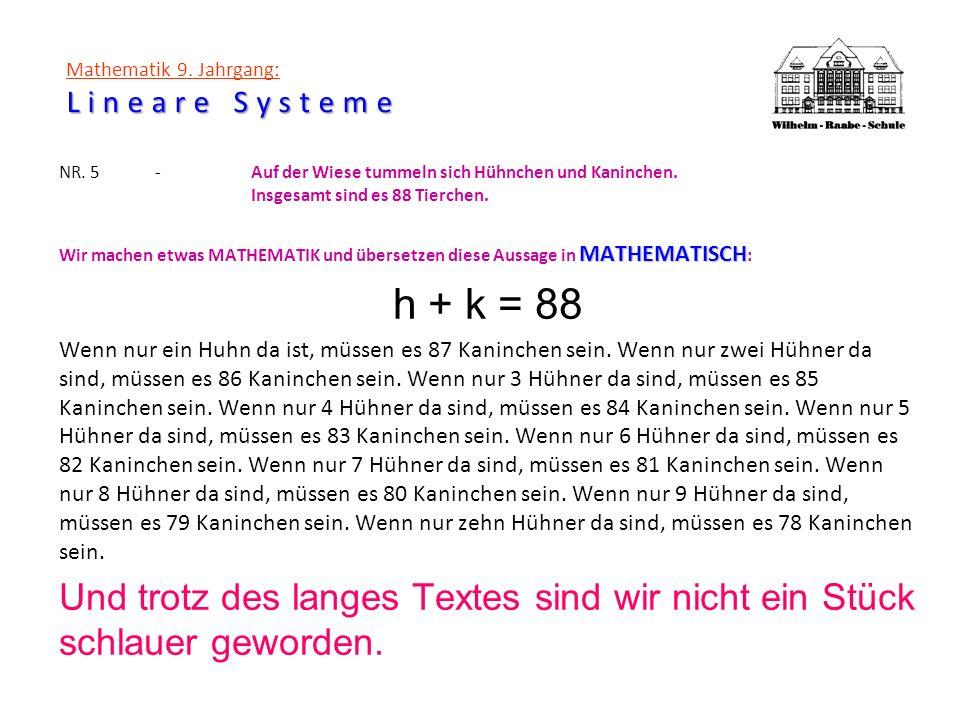 Lineare Systeme Mathematik 9. Jahrgang: Lineare Systeme NR. 5-Auf der Wiese tummeln sich Hühnchen und Kaninchen. Insgesamt sind es 88 Tierchen. MATHEM