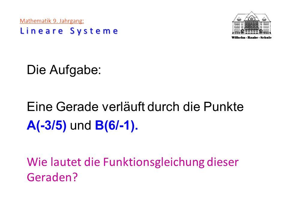 Lineare Systeme Mathematik 9. Jahrgang: Lineare Systeme Die Aufgabe: Eine Gerade verläuft durch die Punkte A(-3/5) und B(6/-1). Wie lautet die Funktio