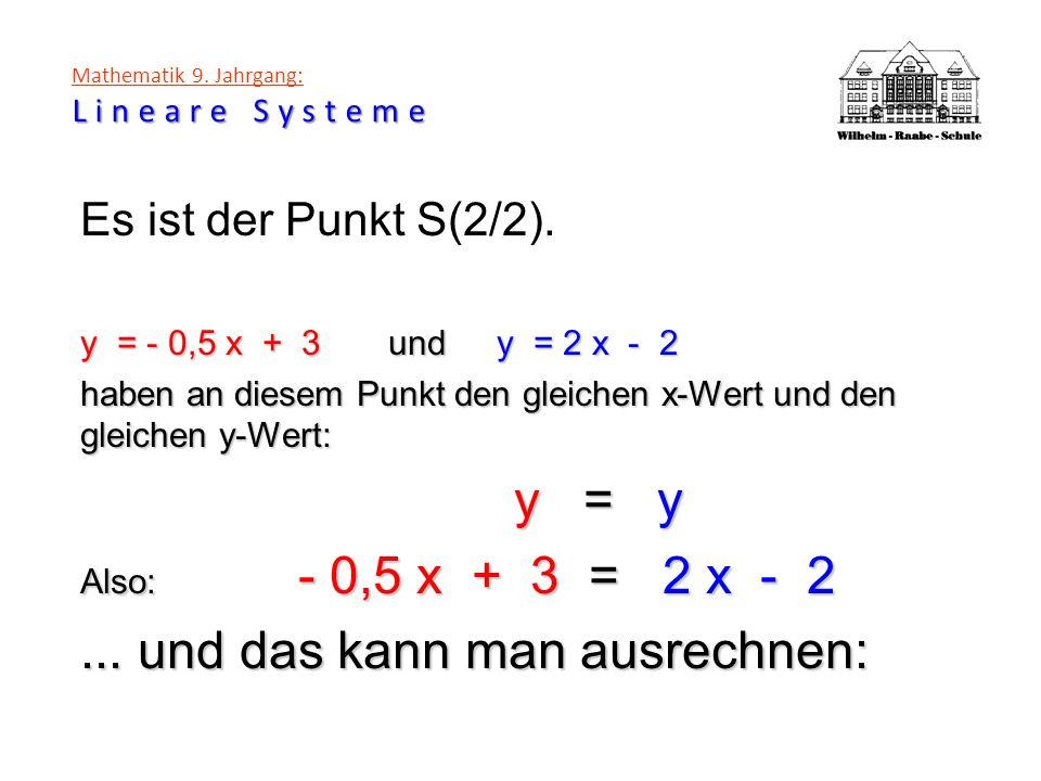 Lineare Systeme Mathematik 9. Jahrgang: Lineare Systeme Es ist der Punkt S(2/2). y = - 0,5 x + 3 undy = 2 x - 2 haben an diesem Punkt den gleichen x-W