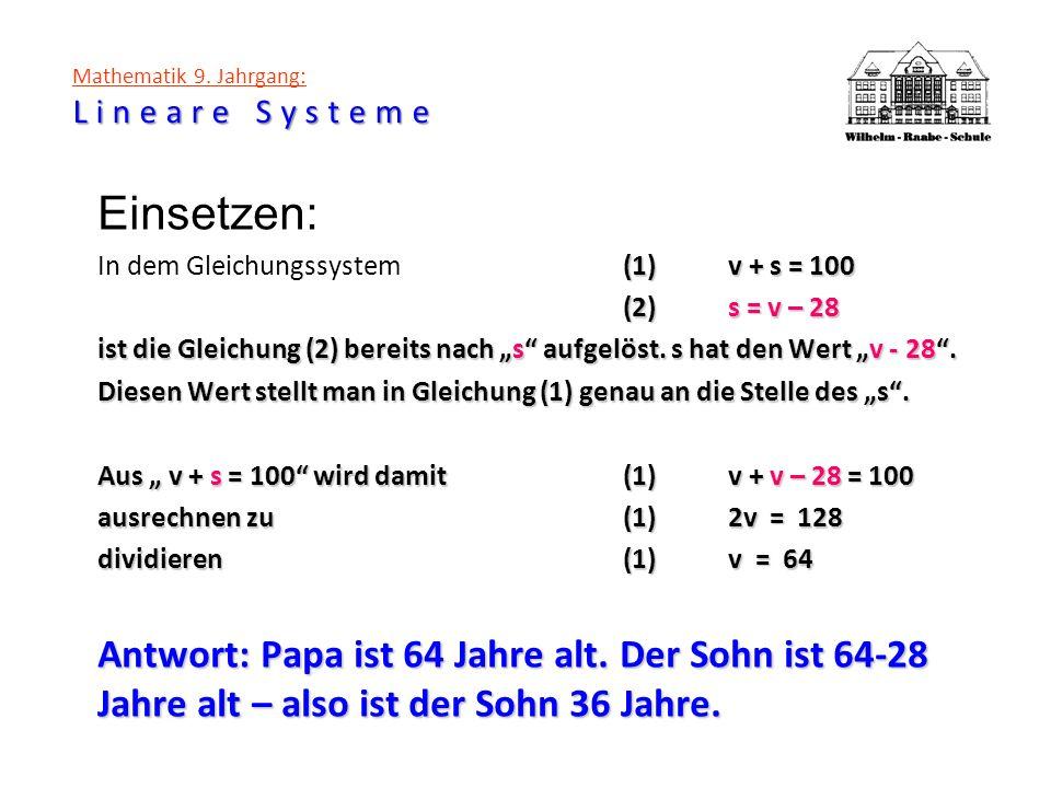 Lineare Systeme Mathematik 9. Jahrgang: Lineare Systeme Einsetzen: (1)v + s = 100 In dem Gleichungssystem(1)v + s = 100 (2)s = v – 28 ist die Gleichun