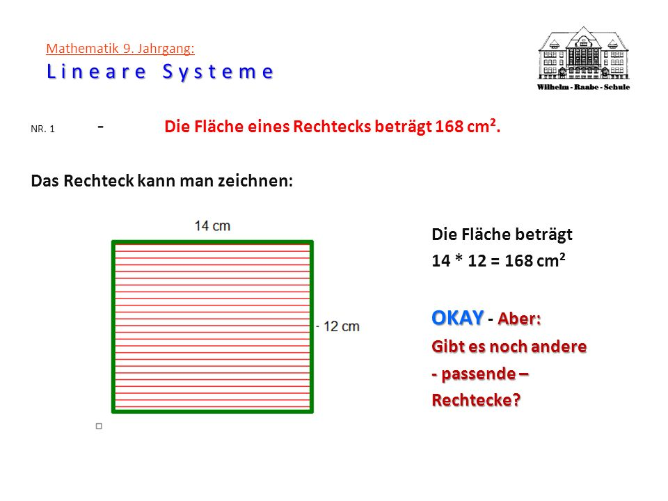 Lineare Systeme Mathematik 9. Jahrgang: Lineare Systeme NR. 1 - Die Fläche eines Rechtecks beträgt 168 cm². Das Rechteck kann man zeichnen: Die Fläche