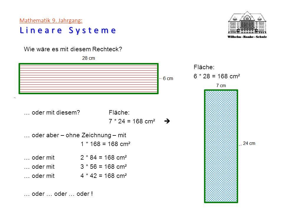 Lineare Systeme Mathematik 9. Jahrgang: Lineare Systeme Wie wäre es mit diesem Rechteck? Fläche: 6 * 28 = 168 cm² … oder mit diesem?Fläche: 7 * 24 = 1