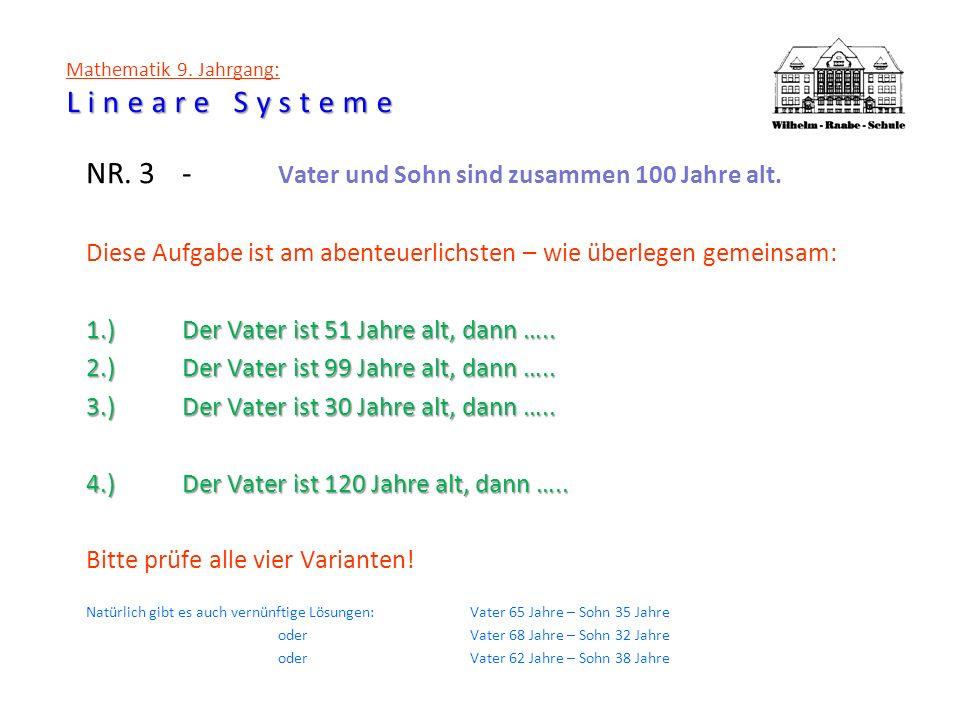 Lineare Systeme Mathematik 9. Jahrgang: Lineare Systeme NR. 3- Vater und Sohn sind zusammen 100 Jahre alt. Diese Aufgabe ist am abenteuerlichsten – wi