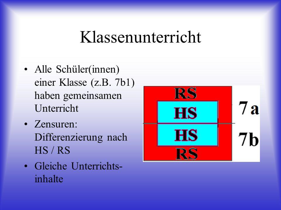 Klassen- und Kursunterricht Klassenunterricht: GSW Sport AW Biologie Kunst Hauswirtschaft Werken Kursunterricht Deutsch Englisch Mathematik Physik