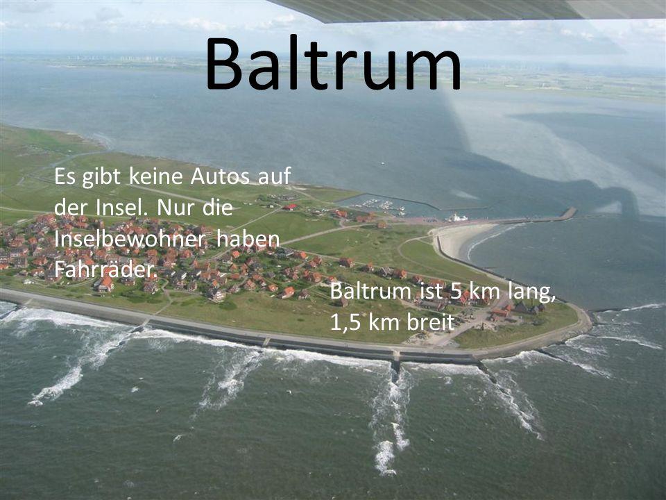 Baltrum Es gibt keine Autos auf der Insel. Nur die Inselbewohner haben Fahrräder. Baltrum ist 5 km lang, 1,5 km breit
