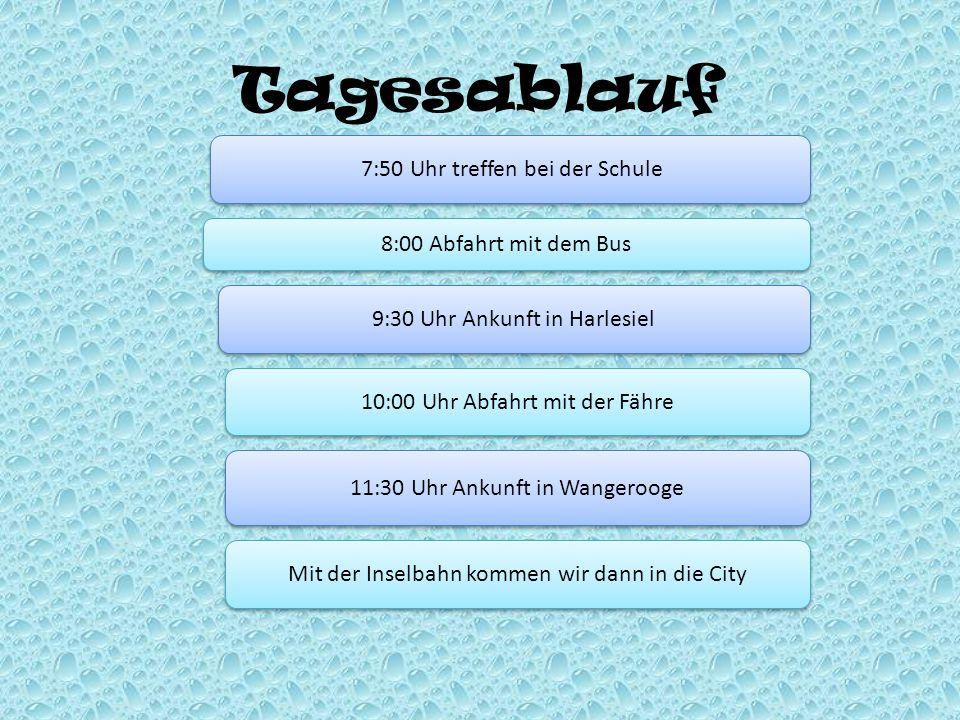 Tagesablauf 7:50 Uhr treffen bei der Schule 8:00 Abfahrt mit dem Bus 9:30 Uhr Ankunft in Harlesiel 10:00 Uhr Abfahrt mit der Fähre 11:30 Uhr Ankunft i