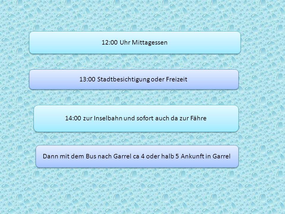 12:00 Uhr Mittagessen 13:00 Stadtbesichtigung oder Freizeit 14:00 zur Inselbahn und sofort auch da zur Fähre Dann mit dem Bus nach Garrel ca 4 oder ha