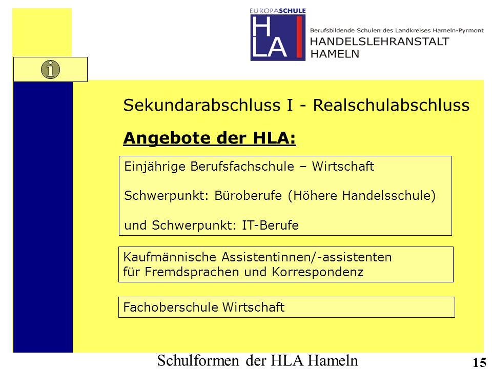 Schulformen der HLA Hameln 15 Sekundarabschluss I - Realschulabschluss Angebote der HLA: Einjährige Berufsfachschule – Wirtschaft Schwerpunkt: Bürober