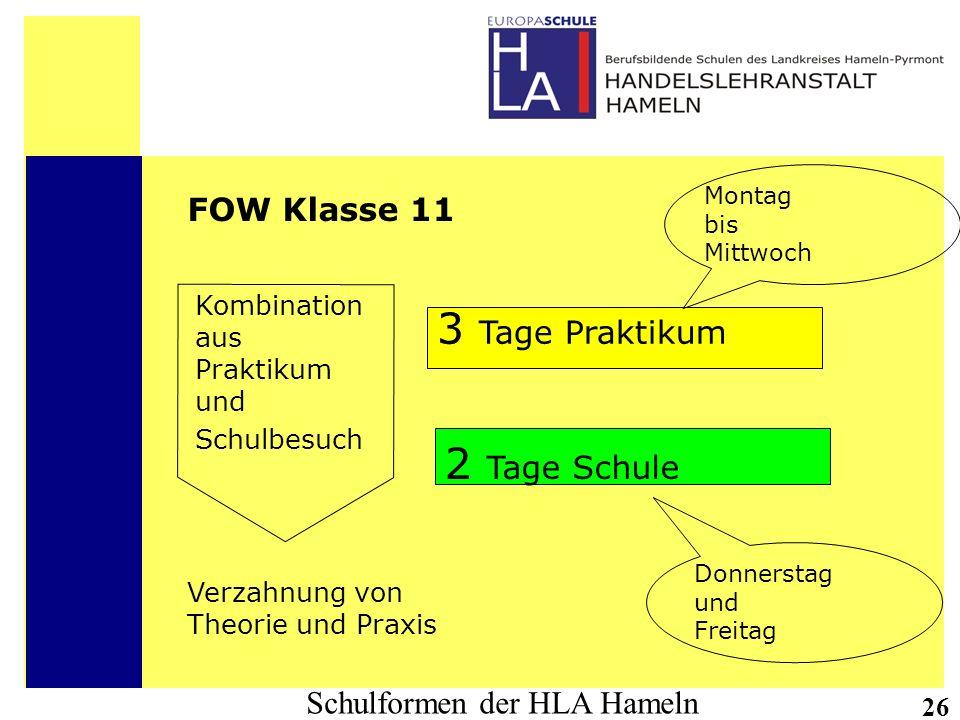 Schulformen der HLA Hameln 26 FOW Klasse 11 Kombination aus Praktikum und Schulbesuch 3 Tage Praktikum 2 Tage Schule Montag bis Mittwoch Donnerstag un