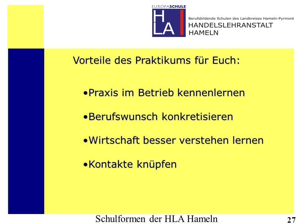 Schulformen der HLA Hameln 27 Vorteile des Praktikums für Euch: Praxis im Betrieb kennenlernenPraxis im Betrieb kennenlernen Berufswunsch konkretisier