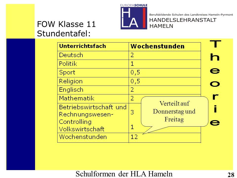 Schulformen der HLA Hameln 28 FOW Klasse 11 Stundentafel: Verteilt auf Donnerstag und Freitag