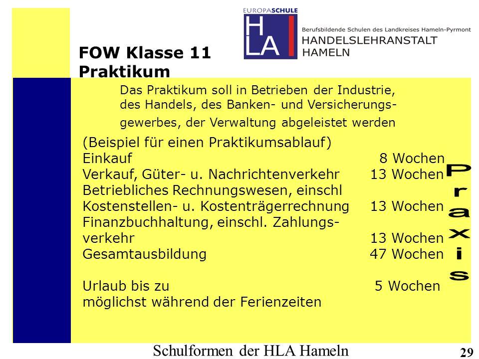Schulformen der HLA Hameln 29 FOW Klasse 11 Praktikum Das Praktikum soll in Betrieben der Industrie, des Handels, des Banken- und Versicherungs- gewer