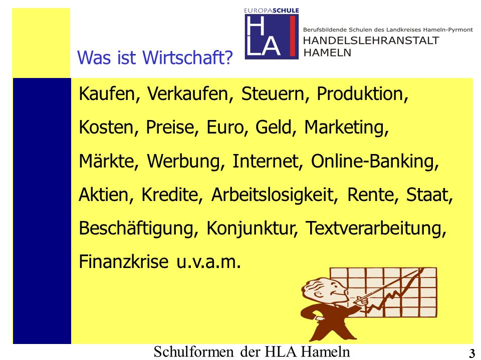 Schulformen der HLA Hameln 3 Was ist Wirtschaft? Kaufen, Verkaufen, Steuern, Produktion, Kosten, Preise, Euro, Geld, Marketing, Märkte, Werbung, Inter