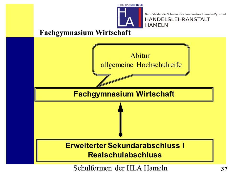 Schulformen der HLA Hameln 37 Erweiterter Sekundarabschluss I Realschulabschluss Fachgymnasium Wirtschaft Abitur allgemeine Hochschulreife Fachgymnasi
