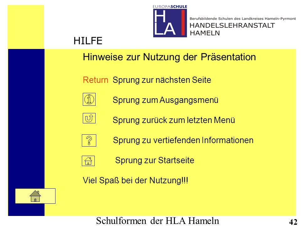 Schulformen der HLA Hameln 42 Hinweise zur Nutzung der Präsentation Return Sprung zur nächsten Seite Sprung zum Ausgangsmenü Sprung zurück zum letzten