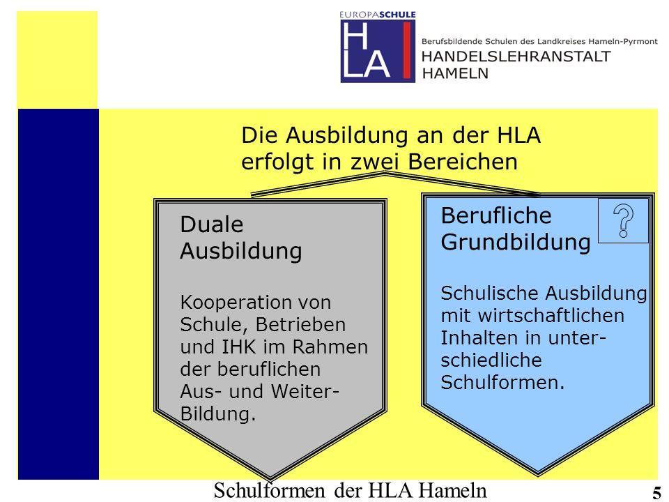 Schulformen der HLA Hameln 5 Die Ausbildung an der HLA erfolgt in zwei Bereichen Duale Ausbildung Kooperation von Schule, Betrieben und IHK im Rahmen