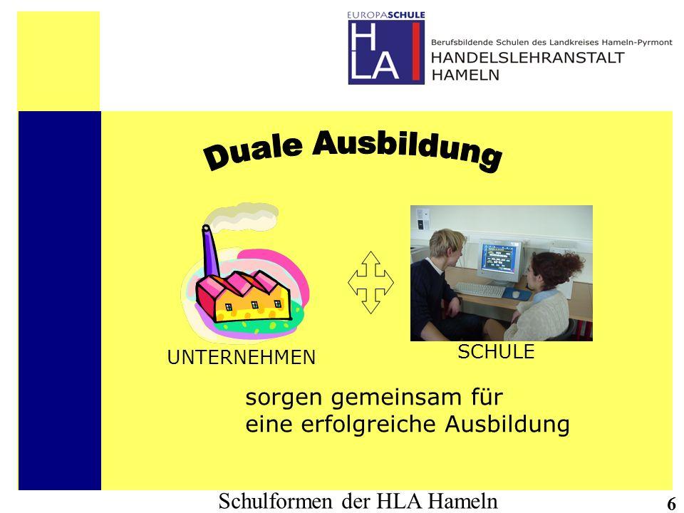 Schulformen der HLA Hameln 17 Ziele der Schulform: Die einjährige Berufsfachschule - Wirtschaft - (Höhere Handelsschule) vermittelt das erste Jahr der Ausbildung im gewählten Schwerpunkt und führt die Allgemeinbildung weiter.