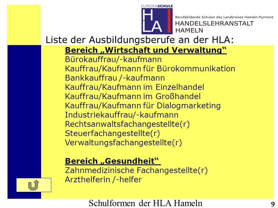 Schulformen der HLA Hameln 9 Liste der Ausbildungsberufe an der HLA: Bereich Wirtschaft und Verwaltung Bürokauffrau/-kaufmann Kauffrau/Kaufmann für Bü