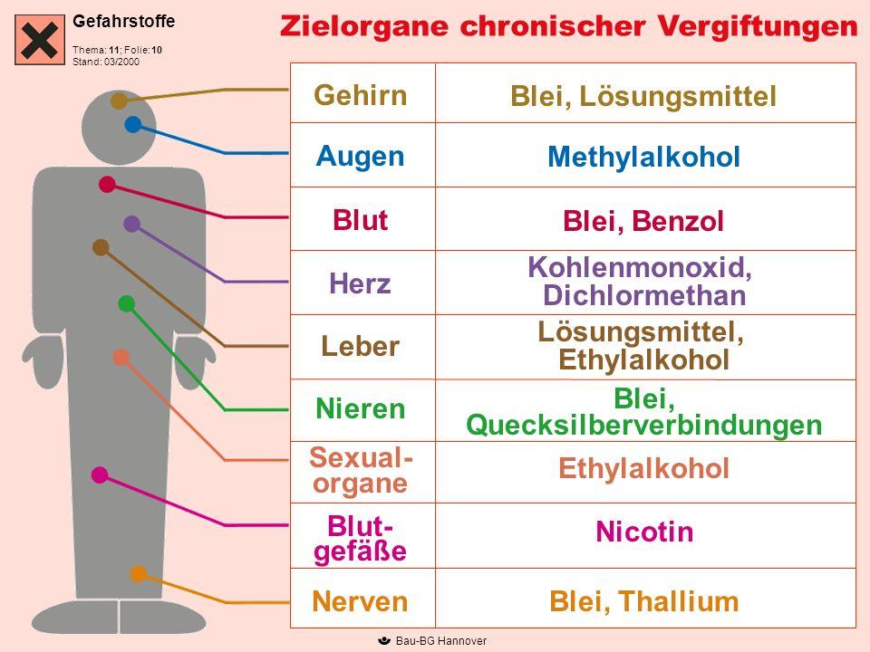 Gefahrstoffe Thema: 11; Folie: Stand: 03/2000 Bau-BG Hannover Zielorgane chronischer Vergiftungen Gehirn Augen Blut Herz Leber Nieren Sexual- organe B