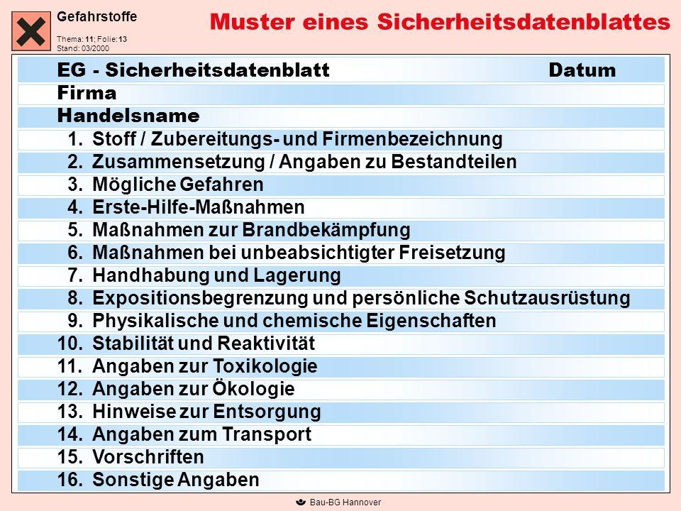 Gefahrstoffe Thema: 11; Folie: Stand: 03/2000 Bau-BG Hannover Muster eines Sicherheitsdatenblattes EG - Sicherheitsdatenblatt Datum Firma Handelsname
