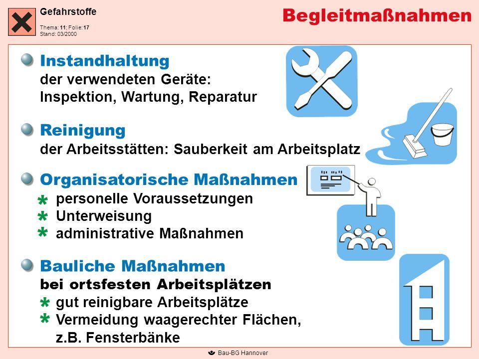 Gefahrstoffe Thema: 11; Folie: Stand: 03/2000 Bau-BG Hannover Begleitmaßnahmen Instandhaltung der verwendeten Geräte: Inspektion, Wartung, Reparatur R