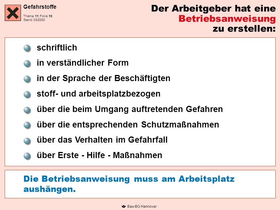 Gefahrstoffe Thema: 11; Folie: Stand: 03/2000 Bau-BG Hannover Der Arbeitgeber hat eine Betriebsanweisung zu erstellen: schriftlich in verständlicher F