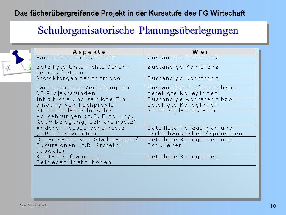 Das fächerübergreifende Projekt in der Kursstufe des FG Wirtschaft Gerd Roggenbrodt 16 Schulorganisatorische Planungsüberlegungen