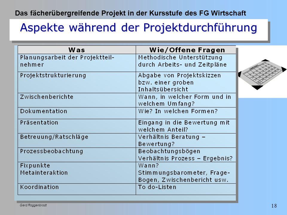Das fächerübergreifende Projekt in der Kursstufe des FG Wirtschaft Gerd Roggenbrodt 18 Aspekte während der Projektdurchführung