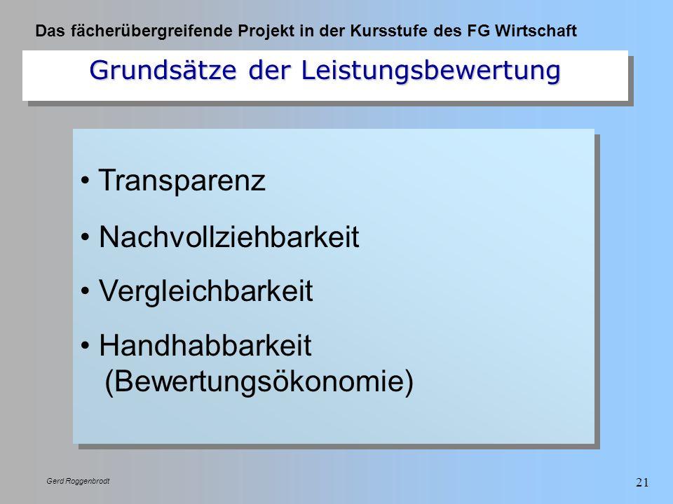 Das fächerübergreifende Projekt in der Kursstufe des FG Wirtschaft Gerd Roggenbrodt 21 Transparenz Nachvollziehbarkeit Vergleichbarkeit Handhabbarkeit